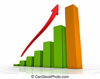 Growth chart, green bars - the highest one is orange, red arrow pointing upwards