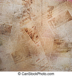 Grunge abstract background with old torn newspaper