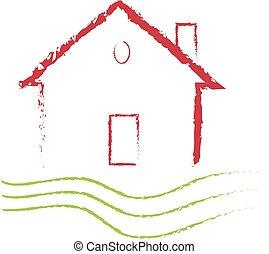 Grunge house logo