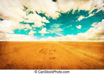 grunge image of desert road