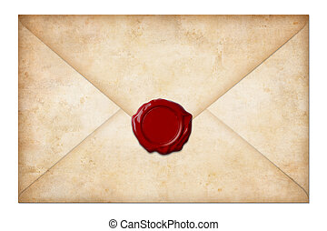 grunge mail envelope or letter with wax seal isolated on white
