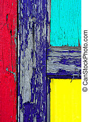 Grunge Paint on Wooden Door Closeup