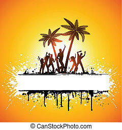 Silhouettes of people dancing on a grunge palm tree background