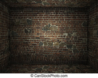 Grungy brick room interior