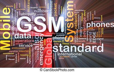 GSM word cloud glowing