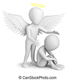 3d small person sitting and Guardian Angel. 3d image. On a white background.