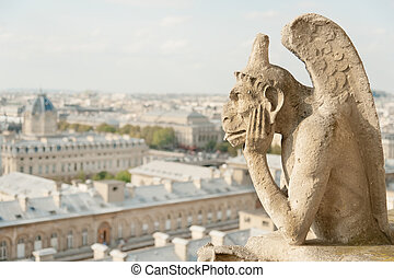 Guardian demon, the best known chimera of Notre Dame de Paris