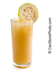 Guava shake drink in glass isolated on white background