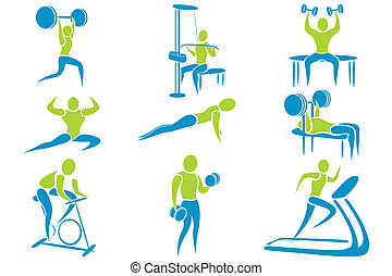 illustration of set of icon showing different gym activity