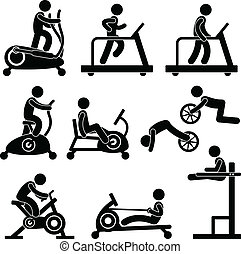A set of pictogram showing a set of artwork related gym equipment workout.
