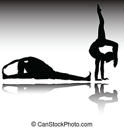 gym recreation vector silhouettes