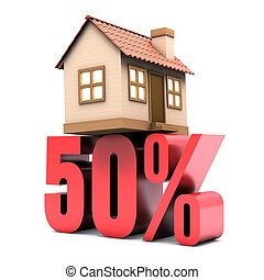 50% discount on the sale of home. Concept of rebate.