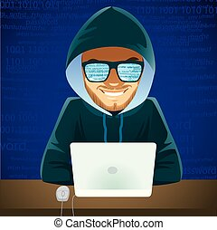 Young hacker man using laptop developing code cyber criminal concept