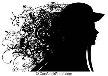 Silhouette of a head of the girl, covered with hair from leaves