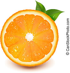 Half Of Orange With Leaf And Water Drop, Vector Illustration