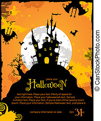 halloween background or party invitation template with bats and haunted house