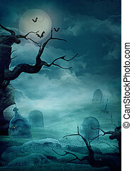 Halloween design background with spooky graveyard, naked trees, graves and bats and Copyspace