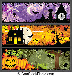 Vector set of three spooky grunge colorful Halloween banners.