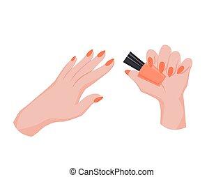 Hand applying nail polish. Making manicure. Female palms