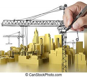 golden building development concept