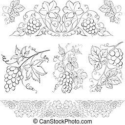Hand drawn of pencil, grapes set.