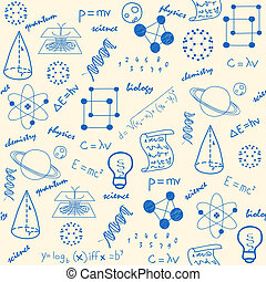 hand drawn seamless science icons background is changeable vector is eps10