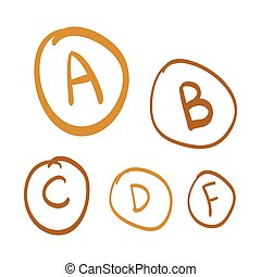 Hand drawn vector grades, set of gold hand drawn letters, gold doodle illustration