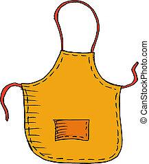 Hand drawn, vector, sketch illustration of apron