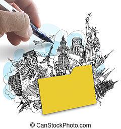 hand draws folder of dream travel around the world as success concept