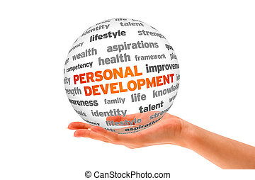 Hand holding a 3d Personal Development Sphere on white background.
