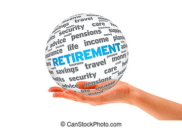 Hand holding a Retirement 3D Sphere on white background.