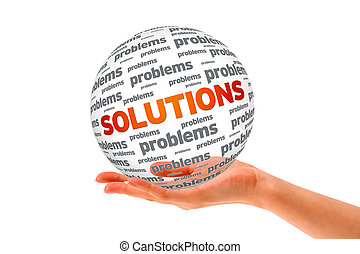 Hand holding a Solutions 3D Sphere sign on white background.
