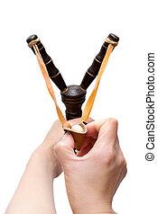 Hand Holding Aiming Slingshot