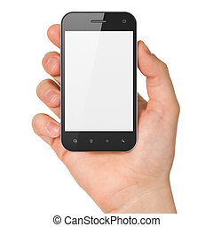 Hand holding smartphone on white background. Generic mobile smart phone, 3d render