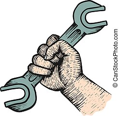 Hand holding spanner wrench.