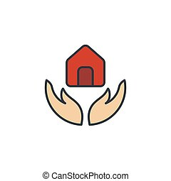 Hand holding up house icon, color, line, outline vector sign, linear style pictogram isolated on white. Symbol, logo illustration