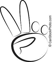 Hand-Peace symbol vector stock