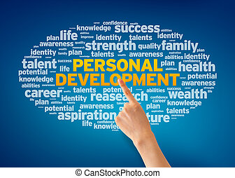 Hand pointing at a Personal Development Word Cloud on blue background.