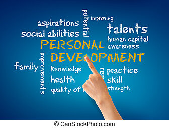 Hand pointing at a Personal Development word illustration on blue background.