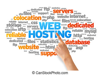 Hand pointing at a Web Hosting Word Cloud on white background.