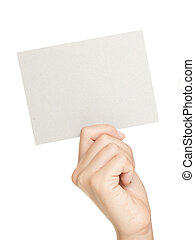 Hand showing sign. Woman hand showing blank gift card sign with empty copy space. Isolated on white background.