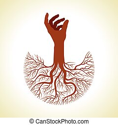 hand with tree roots vector