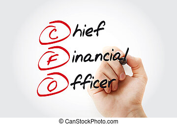 Hand writing CFO - Chief Financial Officer