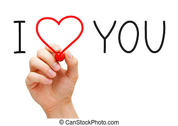 Hand writing I Love You with red marker on transparent wipe board.