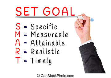 Hand writing smart goal isolate on white