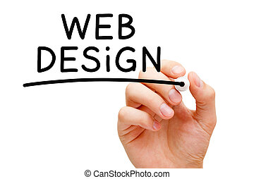 Hand writing Web Design with black marker on transparent wipe board.