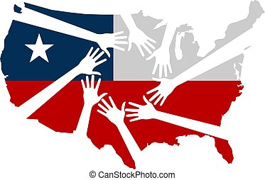 Hands Helping The United States Vector Illustration