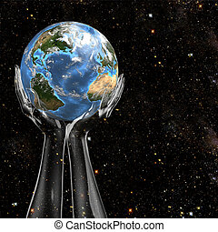 Planet Earth held in cosmic star space by invisible, translucent hands.