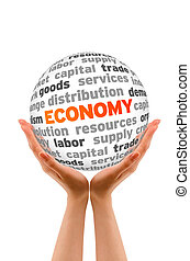 Hands holding a Economy Sphere sign on white background.