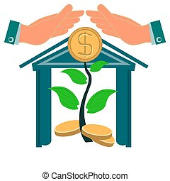 Hands protect a young tree with gold coins. The increase of income in the Bank, investments. Cash Deposit in dollars.